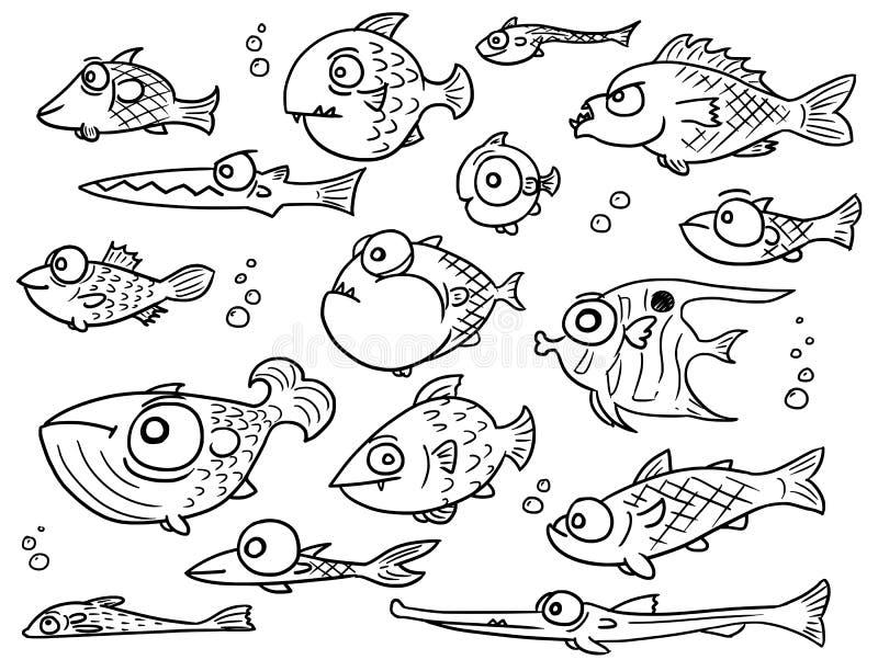 Grupo da coleção do vetor dos desenhos animados de peixes bonitos tirados mão ilustração royalty free