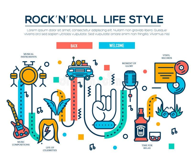Grupo da coleção dos ícones do esboço do ROCK AND ROLL Bloco linear do símbolo do equipamento da música Molde moderno da linha fi ilustração stock
