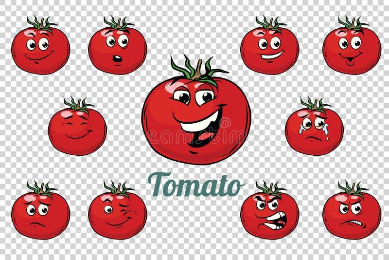 Grupo da coleção dos caráteres das emoções do tomate ilustração stock
