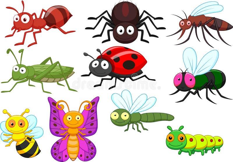 Grupo da coleção dos desenhos animados do inseto ilustração stock