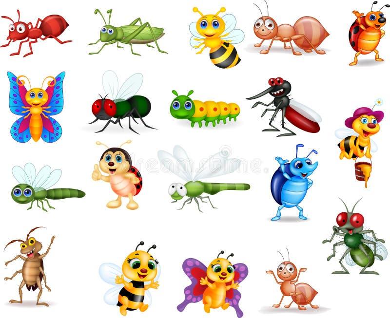 Grupo da coleção dos insetos dos desenhos animados ilustração stock
