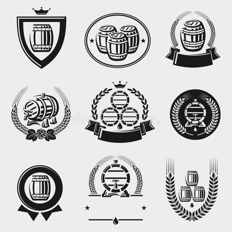 Grupo da coleção da etiqueta dos tambores Vetor ilustração stock