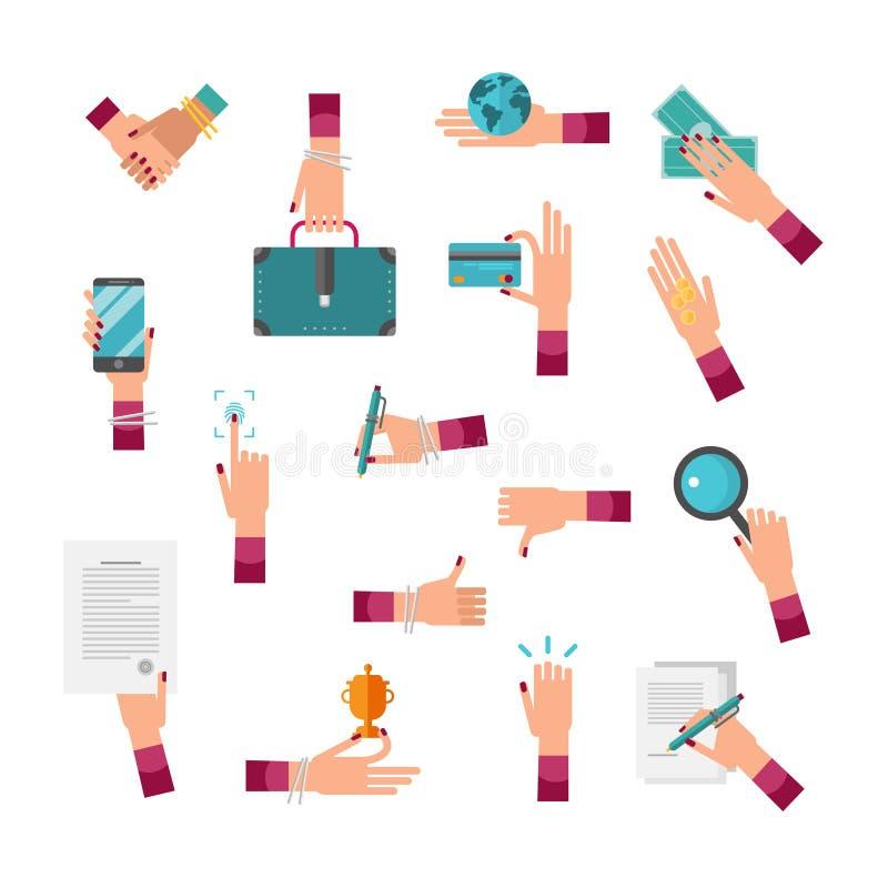 Grupo da coleção da ilustração do vetor da mão da mulher de negócio CEO fêmea com aperto de mão, pasta, globo, dinheiro, cartão,  ilustração do vetor