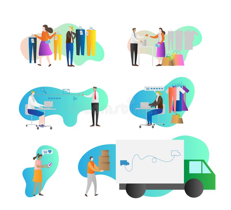 Grupo da coleção da ilustração do vetor do programa da lealdade A busca do cliente e do consumidor, escolhe, pede, compra e paga  ilustração stock