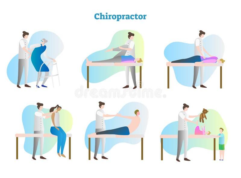Grupo da coleção da ilustração do vetor do quiroprático Pessoa doente do exame do doutor, do terapeuta, da enfermeira ou do massa ilustração stock