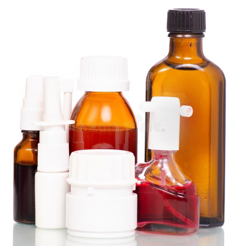 Grupo da composição de garrafas da medicina imagens de stock