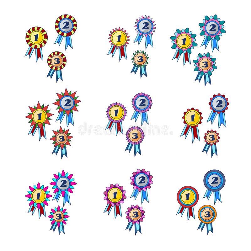 Grupo da concessão do ` s do vencedor de vetor do ícone do ouro, as de prata e as de bronze das medalhas ilustração do vetor