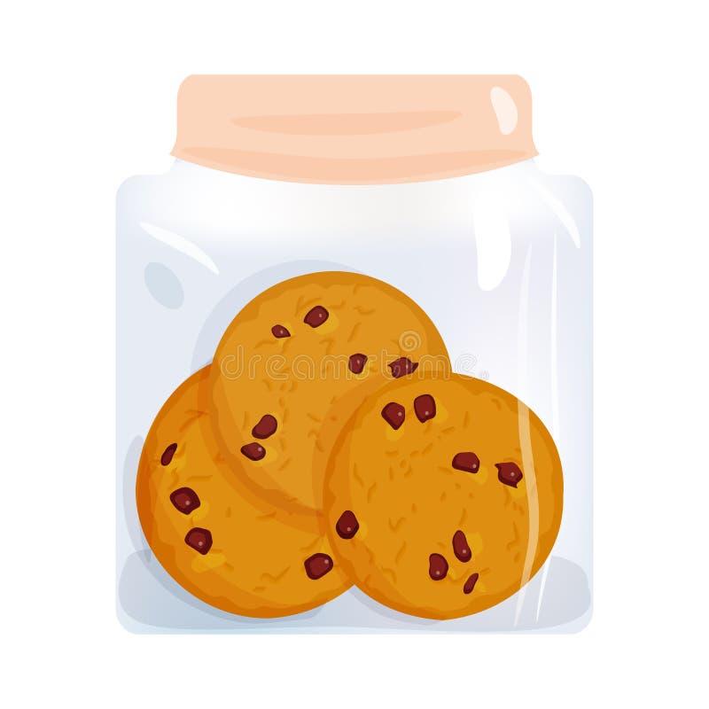 Grupo da cookie dos pedaços de chocolate, biscoito caseiro no frasco de vidro, isolado no fundo branco Cores brilhantes Vetor ilustração do vetor