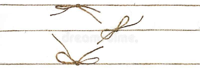 Grupo da corda três diferente ou de guita trançada amarrada fotografia de stock