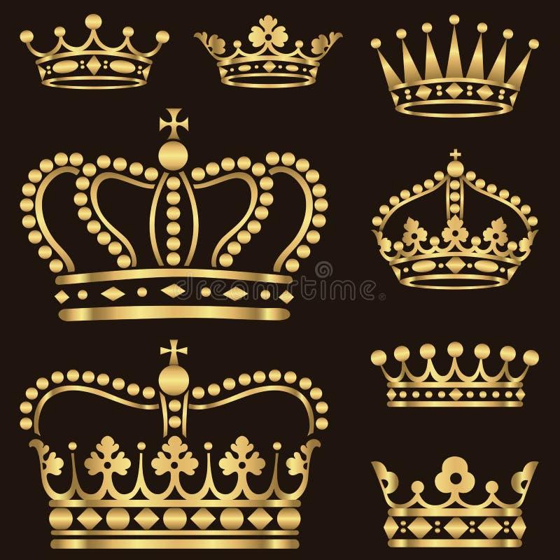 Grupo da coroa do ouro ilustração stock