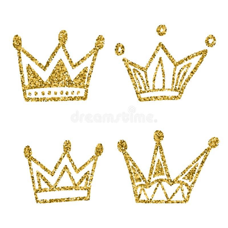 Grupo da coroa do ouro isolado no fundo branco Brilhos ajustados de coroas do rei Ilustração do vetor Projeto gráfico para seu de ilustração do vetor