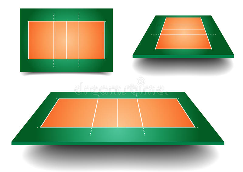 Grupo da corte de voleibol ilustração stock