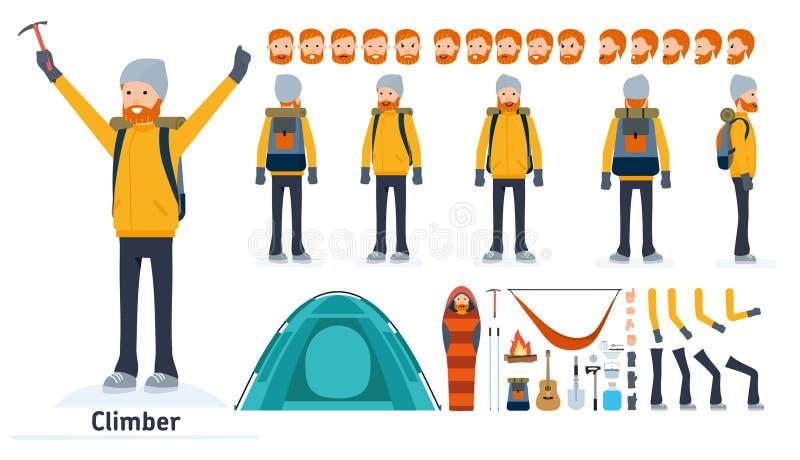 Grupo da criação do caráter do montanhista Montanhista, ícones do turista com tipos diferentes de caras e penteado, emoções, dian ilustração royalty free