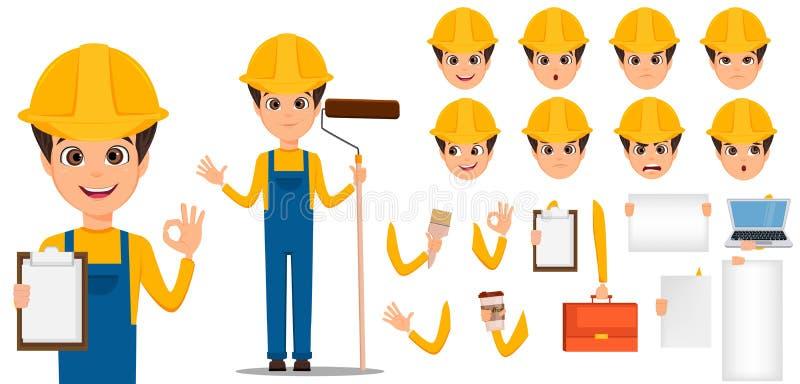 Grupo da criação do personagem de banda desenhada do construtor Instalador considerável novo no uniforme e no capacete ilustração royalty free