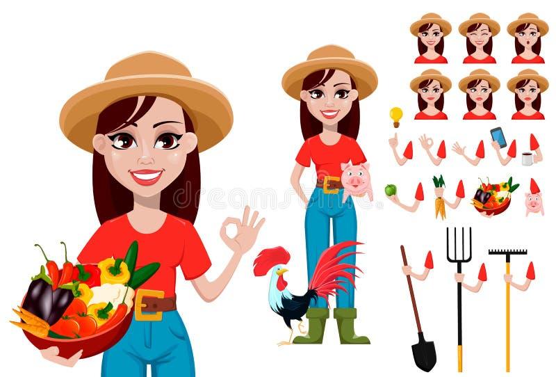 Grupo da criação do personagem de banda desenhada do fazendeiro da mulher ilustração stock