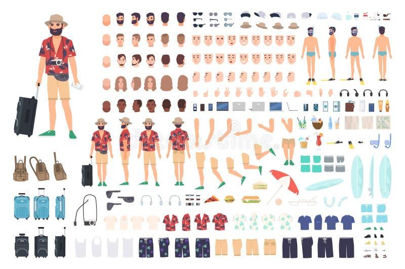 Grupo da criação do turista ou jogo de DIY Coleção de partes do corpo do personagem de banda desenhada s, de cara com emoções dif ilustração do vetor