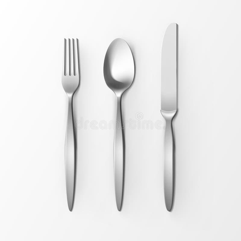 Grupo da cutelaria da opinião superior de prata da colher e da faca da forquilha isolado no fundo branco Tabele o ajuste ilustração stock