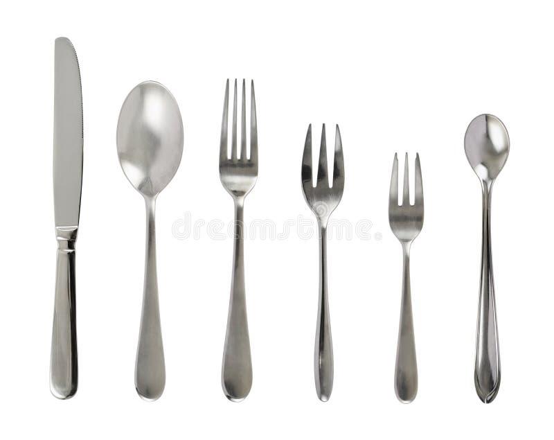 Grupo da cutelaria de aço da tabela do metal imagens de stock