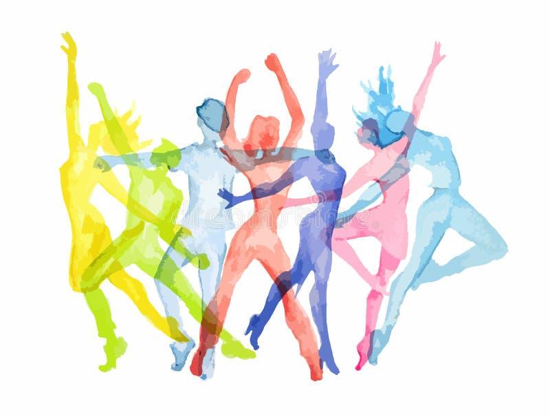 Grupo da dança da aquarela ilustração stock