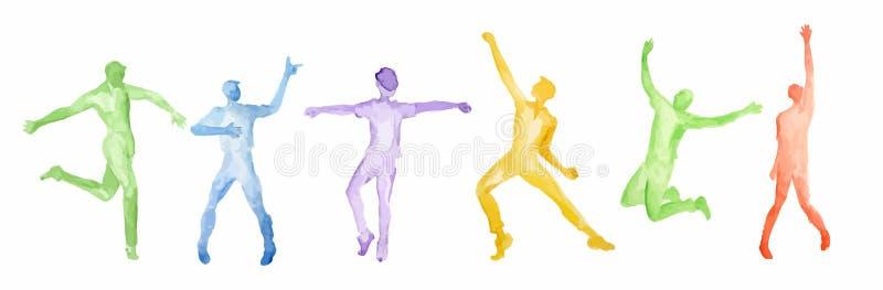 Grupo da dança da aquarela ilustração do vetor