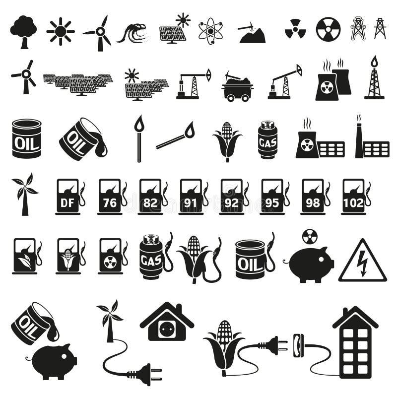 Grupo da energia e do ícone do recurso ilustração do vetor