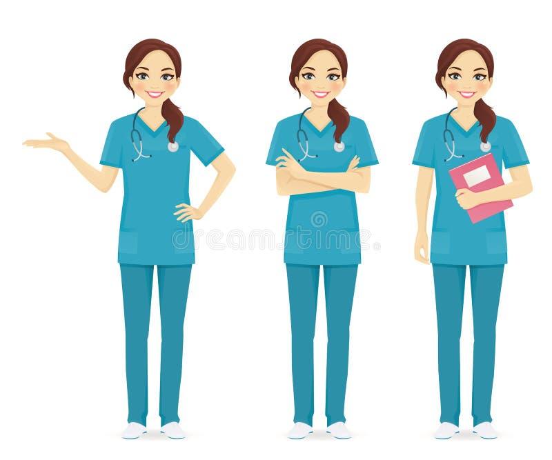 Grupo da enfermeira ilustração royalty free