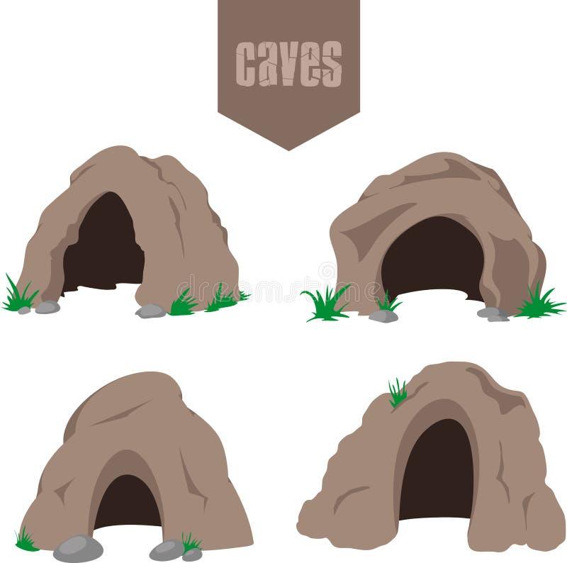 Grupo da entrada da caverna de Brown imagens de stock royalty free