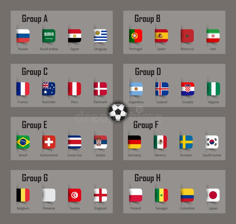 Grupo da equipe do copo 2018 do futebol e bandeiras nacionais Vetor para o competiam internacional do campeonato mundial ilustração royalty free