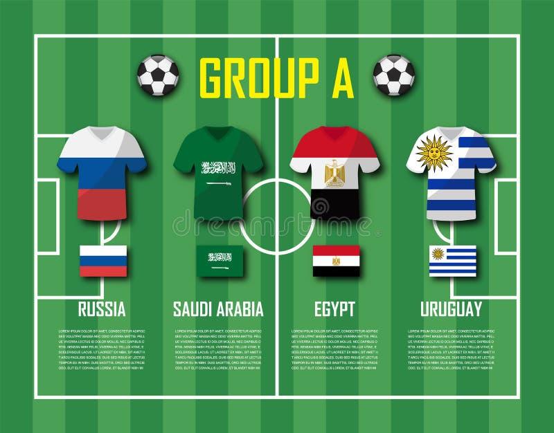 Grupo A da equipe do copo 2018 do futebol Jogadores de futebol com uniforme do jérsei e as bandeiras nacionais Vetor para o champ ilustração royalty free