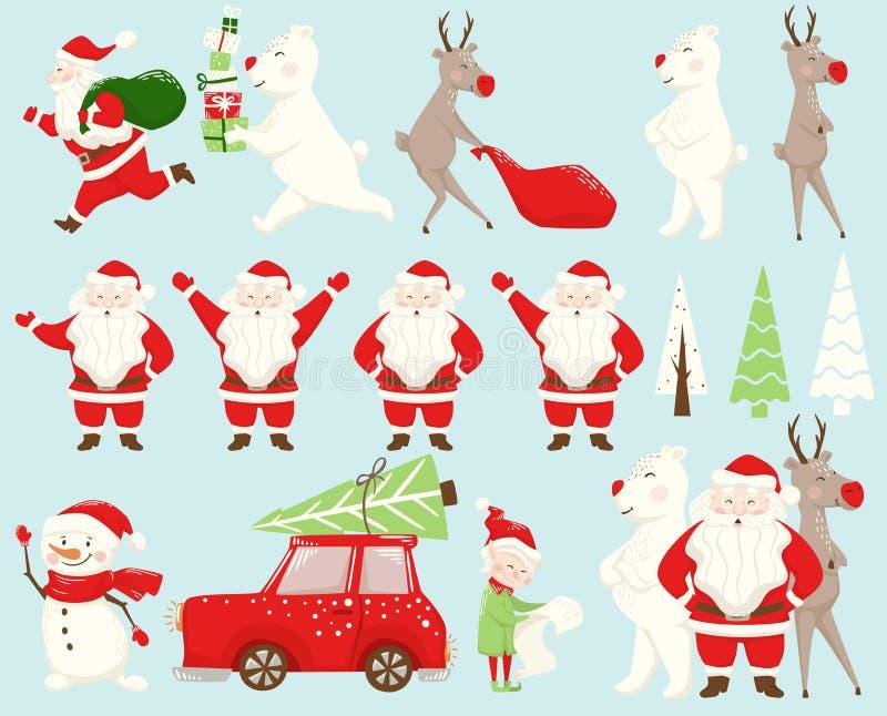 Grupo da equipe do Natal Santa Claus, rena, urso, boneco de neve, duende, carro, árvore de abeto ilustração do vetor