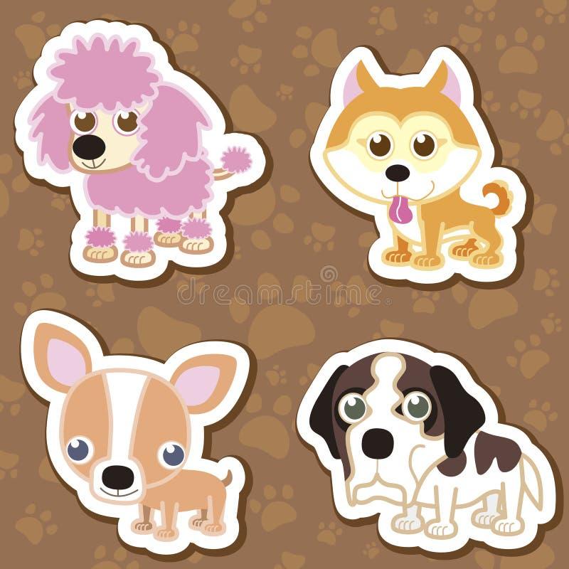 grupo da etiqueta do cão dos desenhos animados. ilustração royalty free