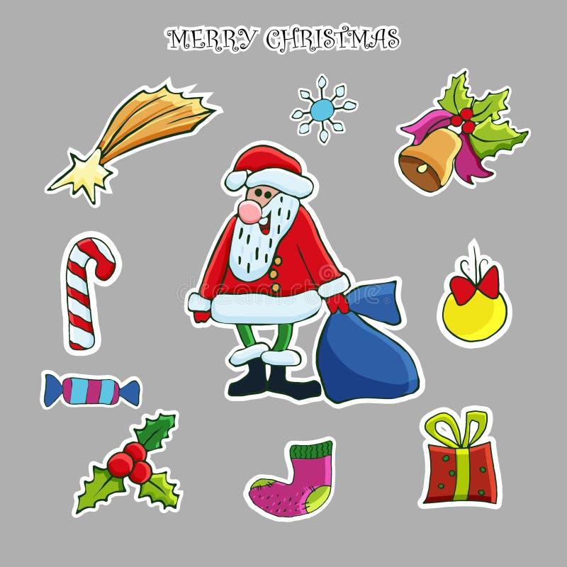 Grupo da etiqueta do Natal Clipart tirado mão do vetor ilustração do vetor