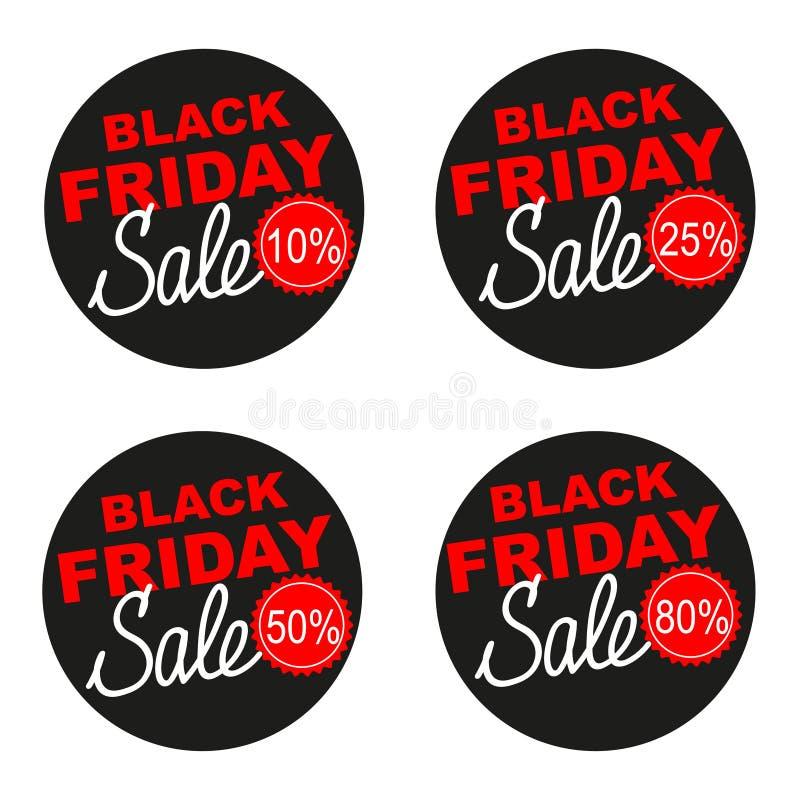 Grupo da etiqueta do vetor da venda de Black Friday isolado no fundo branco ilustração stock