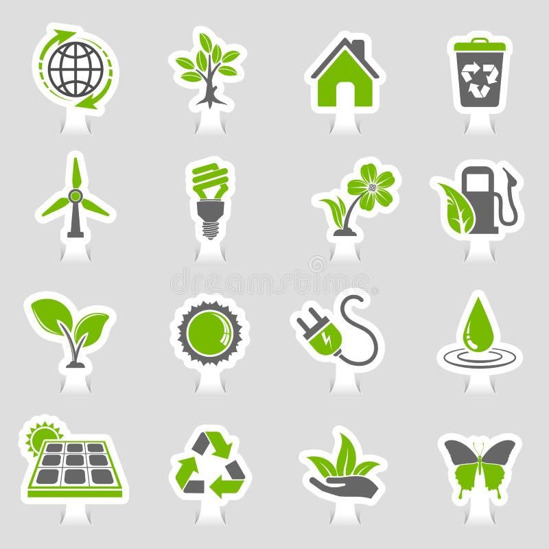 Grupo da etiqueta dos ícones do ambiente ilustração royalty free