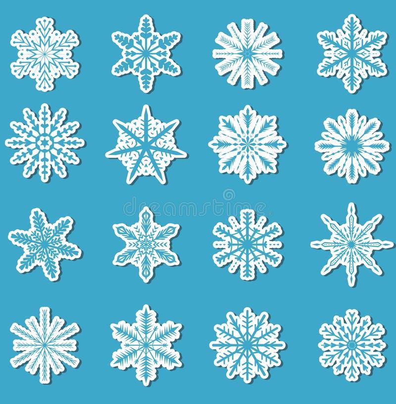 Grupo da etiqueta dos flocos de neve etiquetas para seu projeto Ilustração do vetor ilustração royalty free