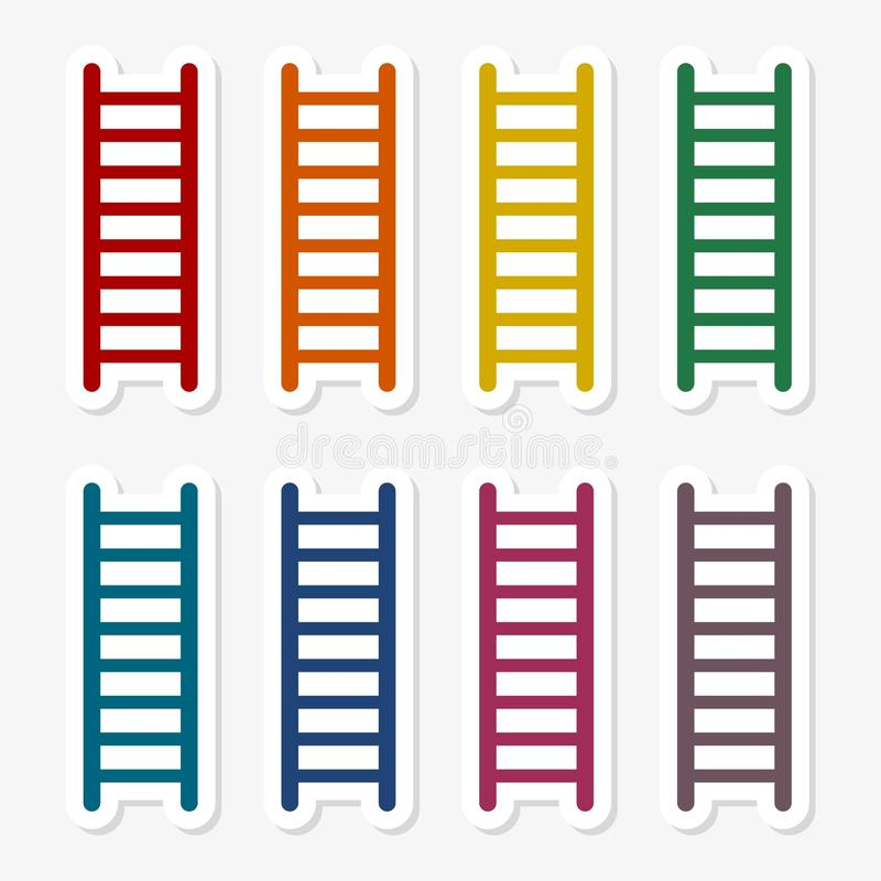 Grupo da etiqueta da escada ilustração stock