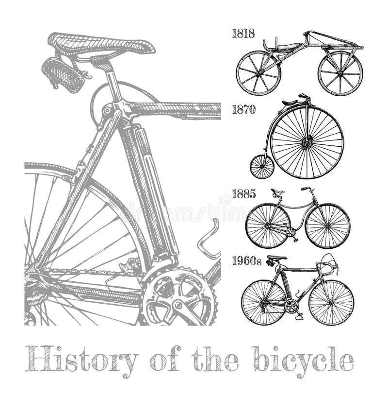 Grupo da evolução da bicicleta ilustração royalty free