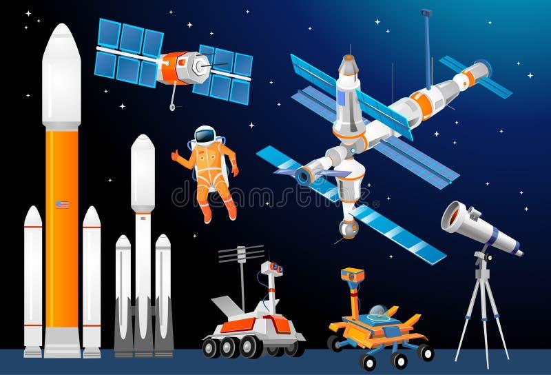 Grupo da exploração do espaço dos desenhos animados do vetor Foguetes de espaço, astronômicos ilustração stock