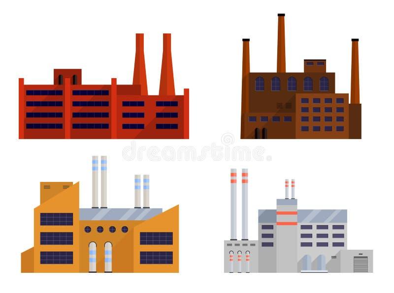 Grupo da fábrica isolado ilustração do vetor