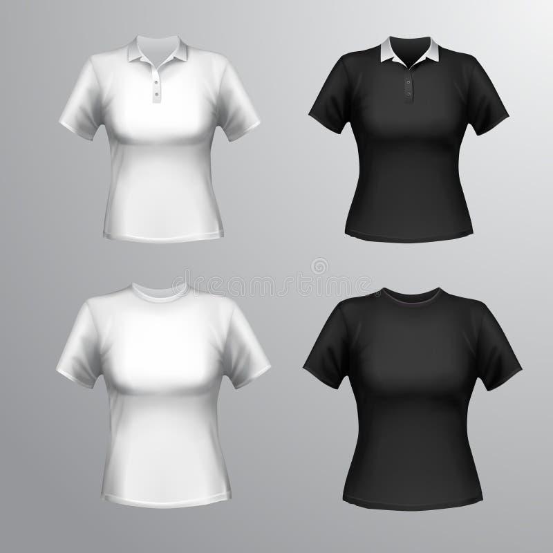 Grupo da fêmea dos t-shirt ilustração do vetor
