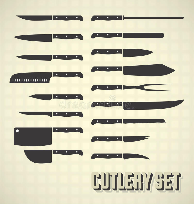 Grupo da faca da cutelaria do estilo do vintage ilustração do vetor