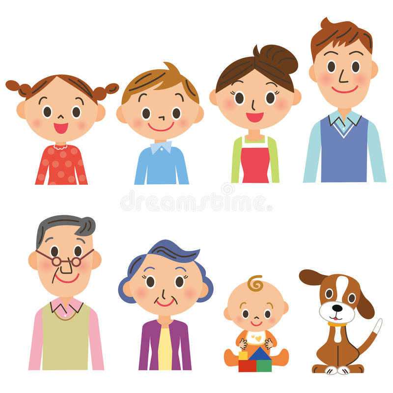 grupo da família da Três-geração ilustração do vetor