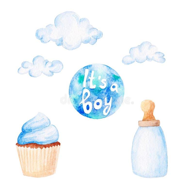 Grupo da festa do bebê da aquarela Seu um tema com nuvens, garrafa do menino de bebê ilustração do vetor