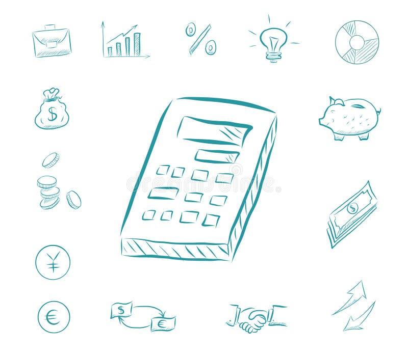 Grupo da finança do ícone da contagem da calculadora Ícones com mealheiro, cartas do negócio, troca de dinheiro, aperto de mão do ilustração do vetor
