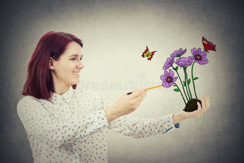 Grupo da flor do desenho fotografia de stock