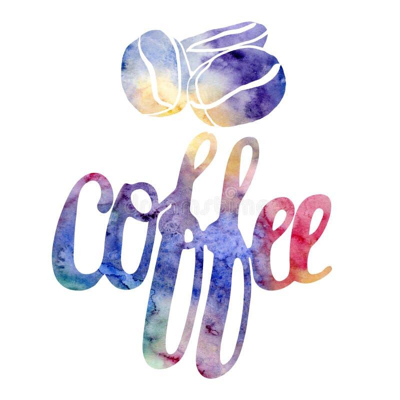 Grupo da forma da rotulação Café moderno do sinal do estilo da aquarela da caligrafia ilustração stock