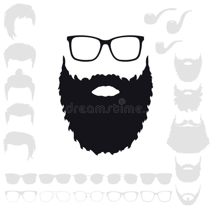 Grupo da forma do moderno Silhueta farpada do Avatar da cara Cortes de cabelo, B ilustração royalty free