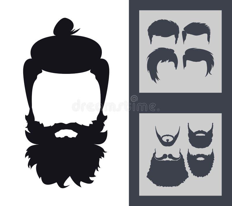 Grupo da forma do moderno Silhueta farpada do Avatar da cara Cortes de cabelo, B ilustração stock