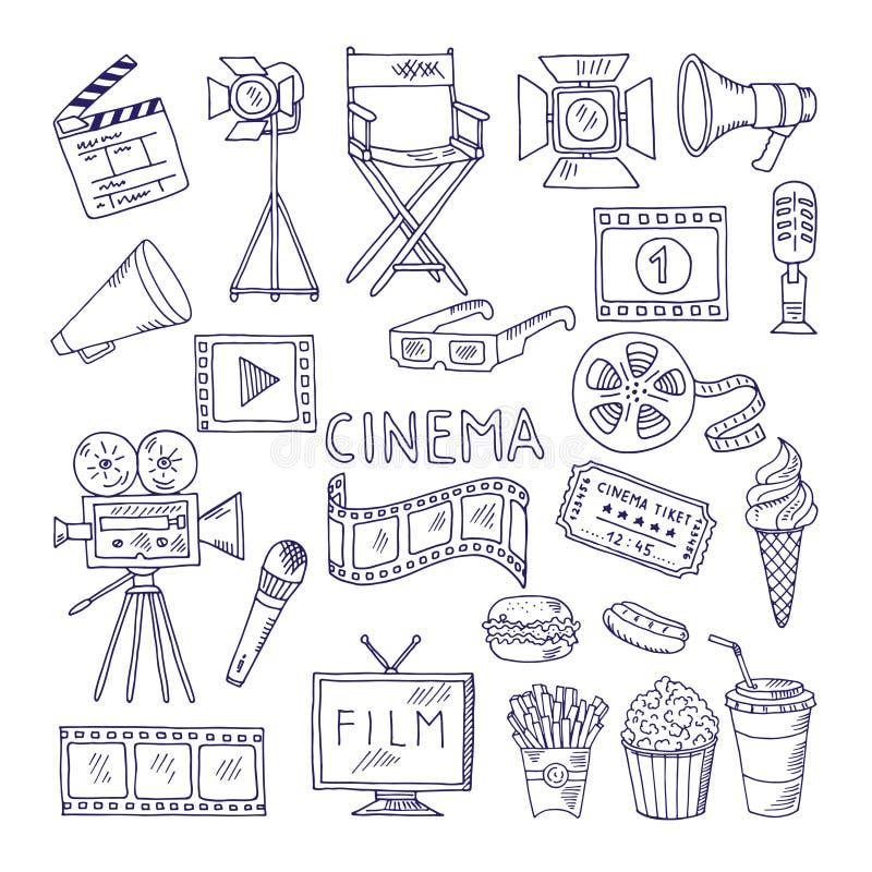 Grupo da garatuja da cinematografia Ícones video do entretenimento do filme ilustração stock