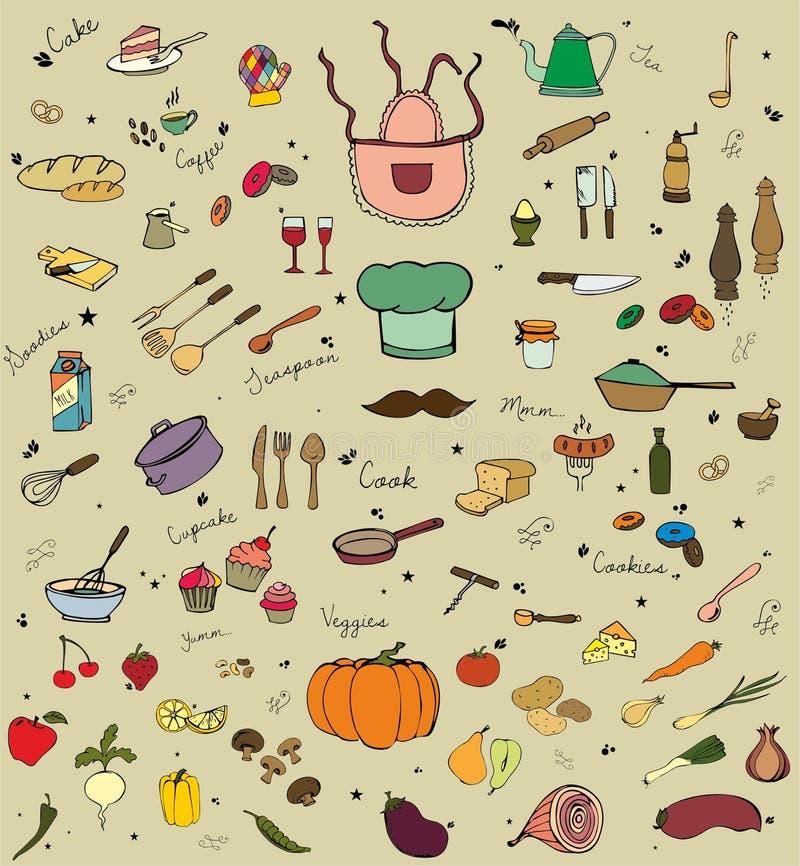 Grupo da garatuja da cozinha ilustração stock